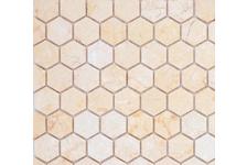 Мозаика Caramelle Mosaic Pietrine Hexagonal Botticino матовая, 292х298х6 мм, чип 18х30 мм