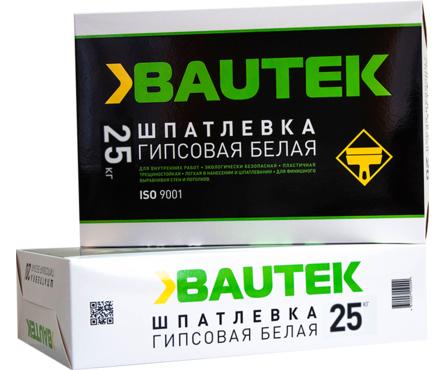 Шпатлевка BAUTEK гипсовая, белая 25 кг Фотография_0