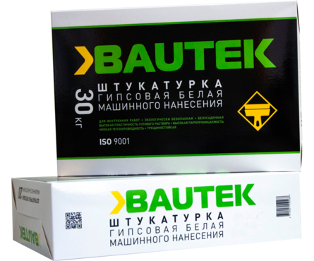 Штукатурка BAUTEK гипсовая, белая, 30 кг Фотография_0