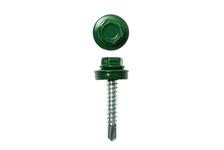 Саморез кровельный 4,8х35 мм оцинкованный, RAL6005 зеленый (упак 100 шт)