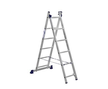 Лестница алюм. 2-х секц. 6 ступеней H2 5206 (высота 168/251см, вес 5,2кг)