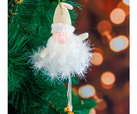 Мягкая подвеска Дед Мороз в колпаке - пушинка 15 см Фотография_0