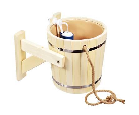 Русский душ на 20л, липа, обливное устройство c пластиковой вставкой и наливным клапаном в коробке