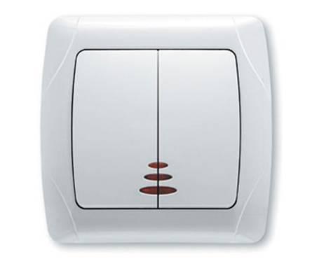 Выключатель ViKo Carmen СП 2-клав.белый с подсв. Фотография_0