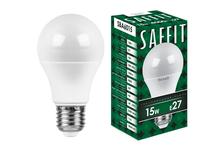Лампа светодиодная SAFFIT LED 15 Вт, цоколь Е27, 4000 К, свет белый холодный, груша