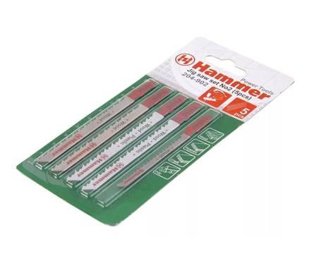 Набор пилок для лобзика Hammer Flex 204-902 JG WD-PL set No2 (5pcs)  дерево\пластик 3 вида,5шт