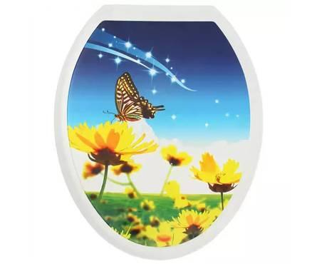 Сиденье для унитаза  Универсал Декор  Бабочка на цветке