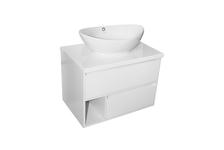 Тумба для ванной Аврора 70 подвесная, белая со столешницей и умывальником Гамма-56 Овал
