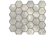 Мозаика Caramelle Mosaic Pietrine Hexagonal Travertino Silver MAT hex матовая, 292х298 мм, чип 18х30 мм