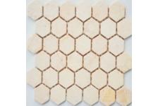 Мозаика Caramelle Mosaic Pietrine Hexagonal Crema Marfil MAT hex матовая, 292х298 мм, чип 18х30 мм