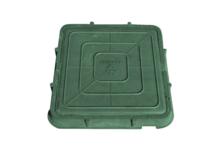 Люк канализационный полимерный 6 кН квадратный, 470х55 мм, зеленый