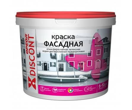 Краска ВД ОРЕОЛ ДИСКОНТ фасадная полиакриловая белая матовая 1,5 кг Фотография_0