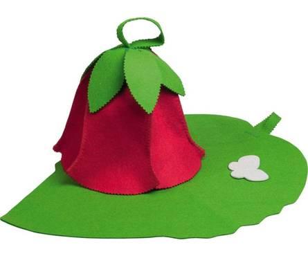 Набор из 2х предметов (Шапка Дюймовочка, коврик зеленый лист) войлок 100%, Банные штучки Фотография_0