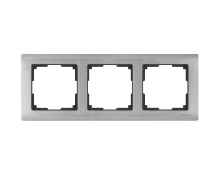 Рамка 3 Поста Универсальная Глянцевый никель Metallic Werkel Фотография_0