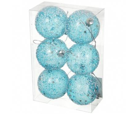 Набор шаров SY16-32 голубые прозрачные, диаметр 6 см (6 шт) Фотография_0
