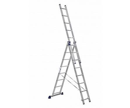 Лестница алюм. 3-х секц. 8 ступеней H3 5308 (высота 224/363/504см, вес 10,7кг)